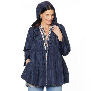 NWT DG2 by Diane Gilman Tiered Raincoat XS Navy